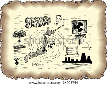 japan nuclear danger - stock vector