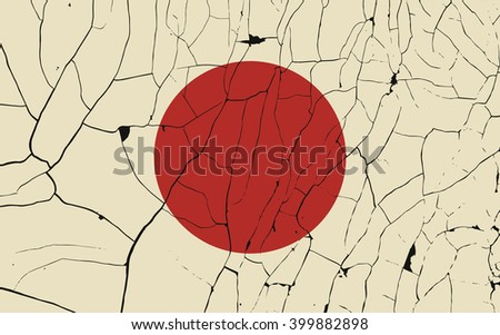 Japan old flag with fracture. Grunge effect can be cleaned easily. - stock vector