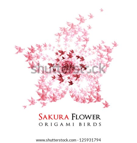 Japan origami flower shaped from flying birds - vector - stock vector
