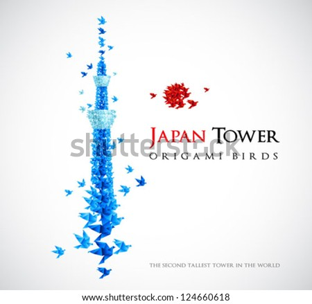 Japan origami tower - Tokyo Skytree - the second tallest tower in the world - shaped from flying birds - stock vector