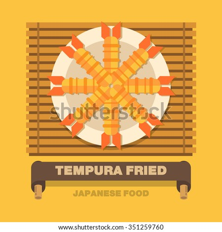 Japan's national dishes,Tempura Fried - Vector flat design art