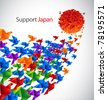 Japan social art - origami birds fly to the sun stylized from Japan flag - stock vector