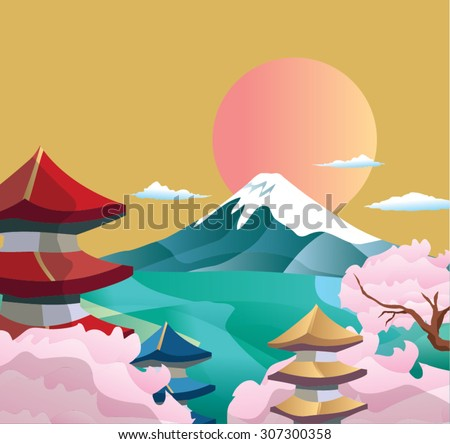 Japan style buildings and fuji mountain. - stock vector