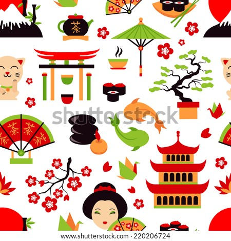 Japan symbols set with traditional food and travel icons seamless pattern vector illustration