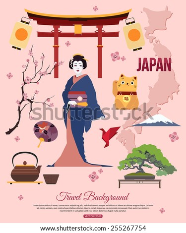Japan travel background with place for text. Set of colorful flat icons, Japan symbols for your design. Vector illustration. - stock vector