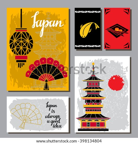 Japan travel cards. Lantern, fan, fish, sushi, chopsticks, tower, sun. Japanese design elements set isolated - stock vector