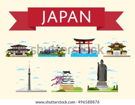 Japan Travel Destination Japanese Architecture In Flat Design Worldwide Traveling Landmarks Icon