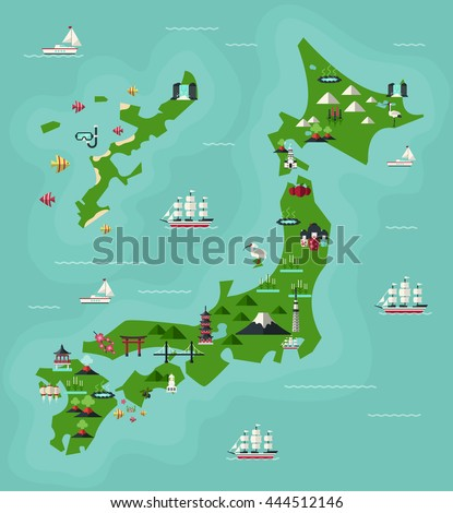 Japan Travel Map Famous Landmarks Flat Stock Vector - Japan map cartoon