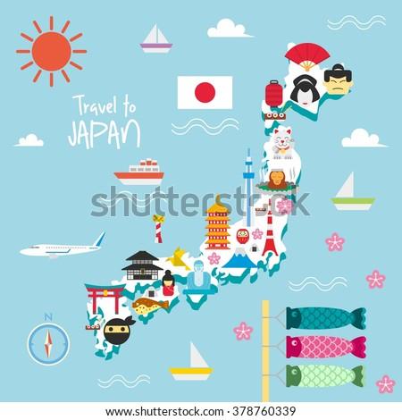 Japan Travel Map Flat Icon Vector Stock Vector - Japan map cartoon