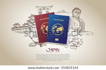 Japan travel poster. Hand drawn japan. vector illustration. - stock vector