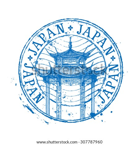 Japan vector logo design template. temple drawn in a simple sketch style - stock vector