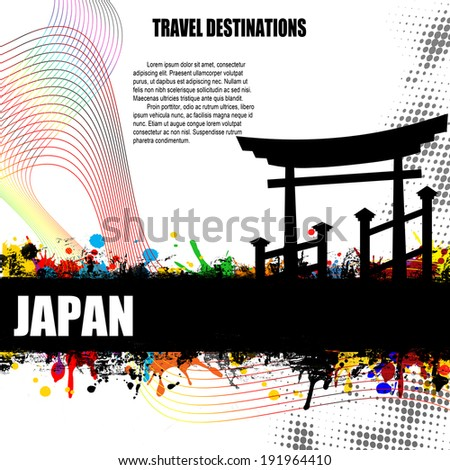 Japan, vintage travel destination grunge poster with colored splash and space for your text, vector illustration