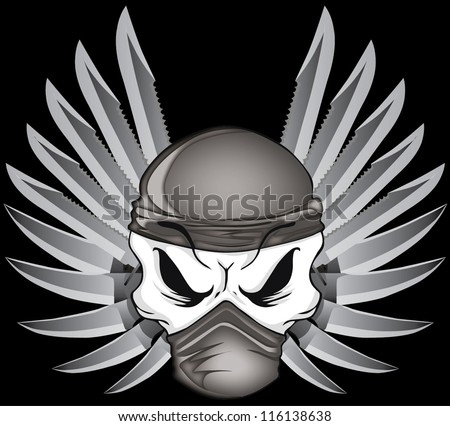 japan wing blade skull with on black background - stock vector