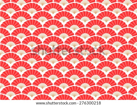 Japanese and Chinese Fans Seamless Pattern. Vector and Illustration. - stock vector