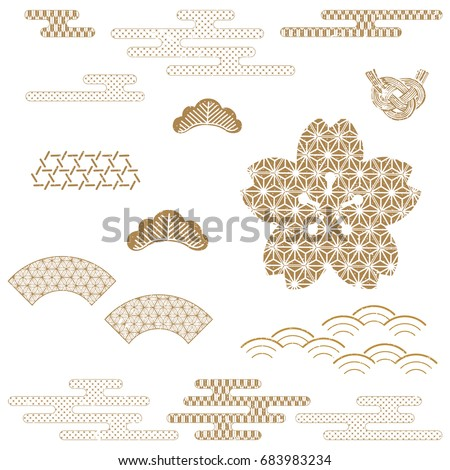 Japanese background vector. Gold geometric traditional pattern. cover page, template, poster, backdrop.