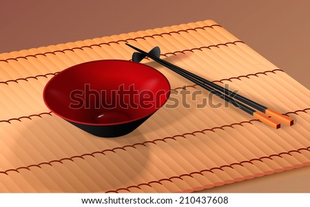 Japanese bowl with chopsticks  - stock vector