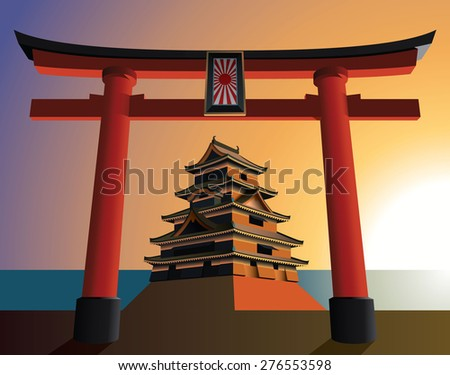 Japanese castle on the rising sun - stock vector