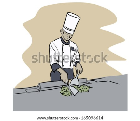 Japanese Chef Vector Sketch