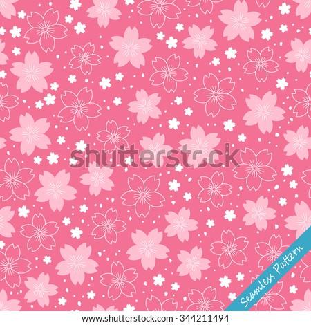 Japanese cherry blossom kimono seamless pattern. Vector illustration - stock vector