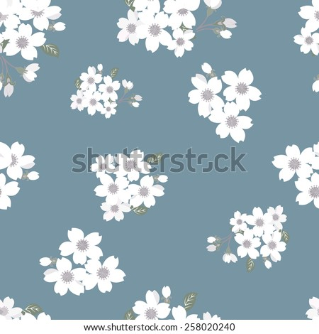 Japanese cherry blossom seamless pattern - stock vector