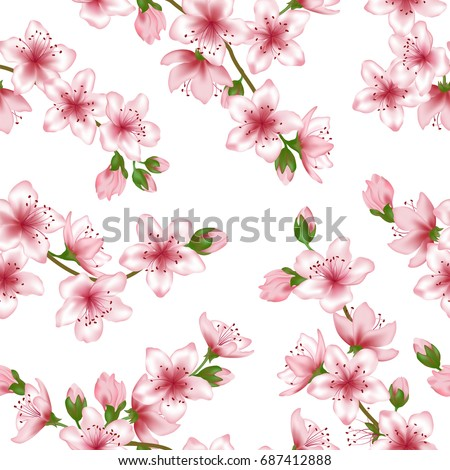 Japanese Cherry Blossom Vector Seamless Pattern. Pink Cherry Flowers  Textile, Spring Tree Blossom Fabric