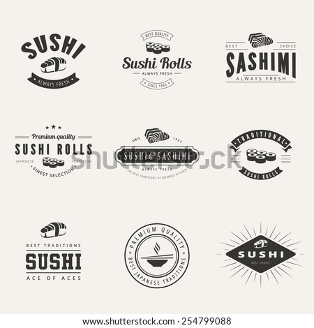 Japanese Cuisine Retro Hipster Logo design vector typography lettering templates.  Sushi Rolls Sashimi Vintage Labels. - stock vector