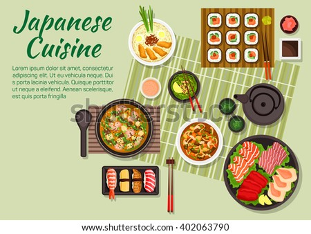 Japanese cuisine with maki, nigiri sushi, sashimi with salmon teriyaki, tuna, cuttlefish, scallops, miso soup with pork, green tea, soup with tofu and shrimps, beef with mushrooms, sauces, condiments - stock vector