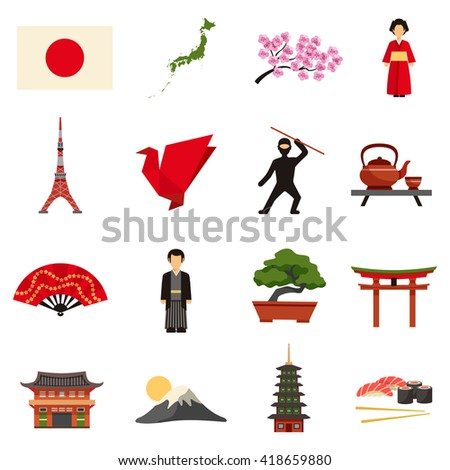 Japanese culture flat icons collection with sakura cherry blossom red lantern and bonsai abstract isolated vector illustration