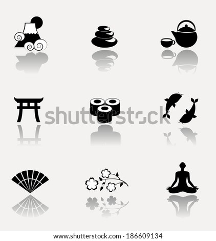 Japanese culture icon set. Vector illustration. - stock vector