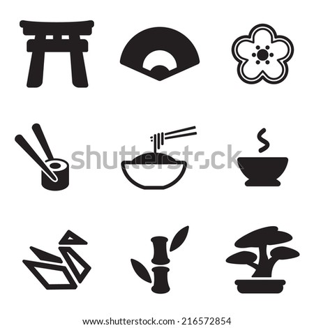 Japanese Culture Icons - stock vector