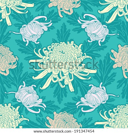 japanese curly chrysanthemum flower seamless pattern with leaves - stock vector