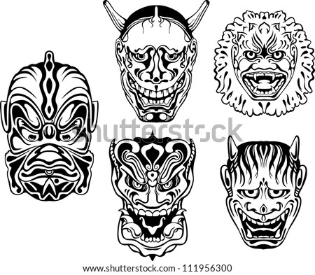 Japanese Demonic Noh Theatrical Masks. Set of black and white vector illustrations.