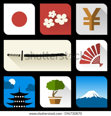 Japanese flat icons - stock vector