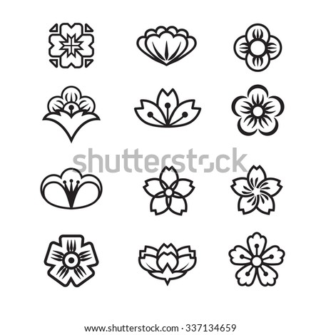 japanese flower icons set stock vector royalty free 337134659