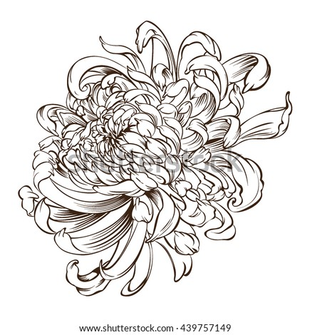 japanese flower tattoo chrysanthemum flower blossoms stock vector 439757149 shutterstock. Black Bedroom Furniture Sets. Home Design Ideas