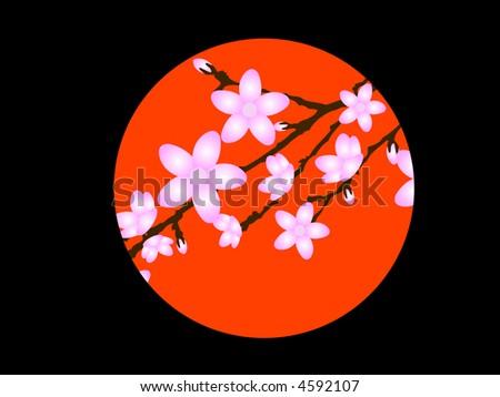 Japanese Flower Vector Background - stock vector