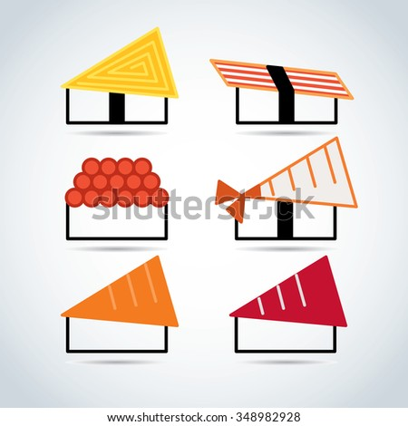 Japanese food icon set - stock vector