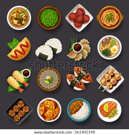 Japanese food icon set