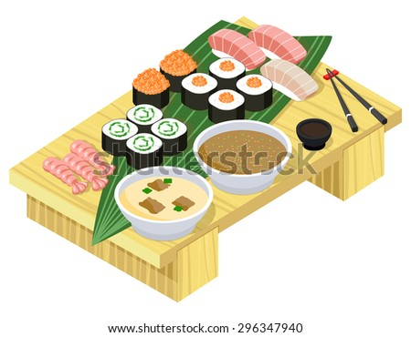 Japanese food. Sushi and rolls on wooden stand. Fish and seafood, dinner and rice, wasabi and prepared lunch. Vector illustration - stock vector