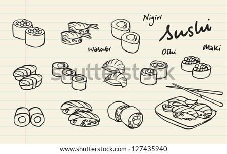 Japanese food - sushi vector illustration - stock vector