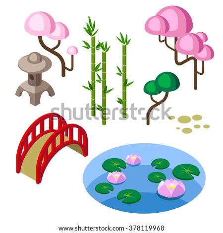japanese garden isolated  parts/Constructor of the japanese garden. Game design isometric elements/Bamboo, sakura, bridge, garden lantern, and small pond. Japanese isometric elements isolated in white - stock vector