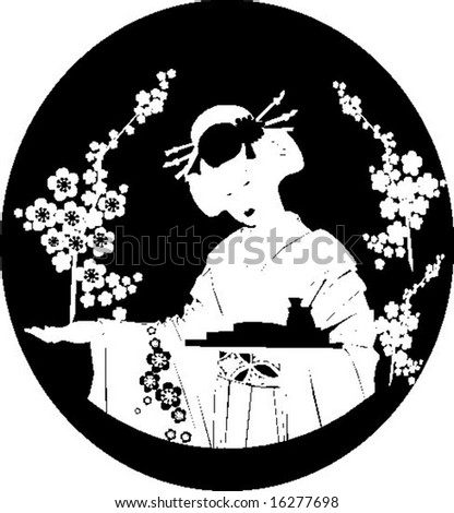 Japanese girl - stock vector
