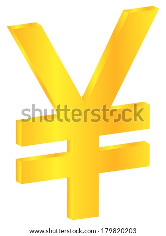 Japanese Gold Yen Currency Sign Isolated On White