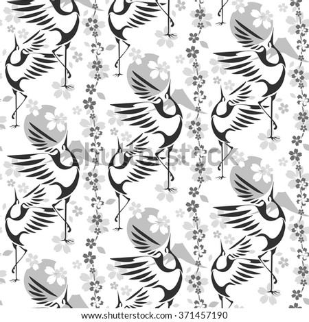 Japanese Hanami festival. Seamless wallpaper on which the dancing cranes on a background of sakura, sun and Mount Fuji. - stock vector