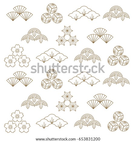 Japanese Icon vector. illustration of Japan. Art of pattern style in gold.