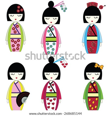 Japanese inspired by Asian culture, set of 6 dolls with vary outfits including flowers, hearts, bow, fan , hair accessories