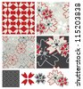 Japanese Inspired Geometric Floral Seamless Patterns and Icons. - stock vector