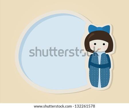 Japanese kokeshi doll in blue kimono speech bubble or greeting card template - stock vector