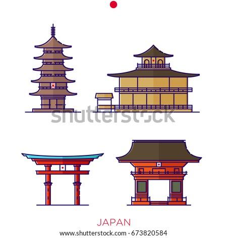 Japanese Landmark Buildings Icons Of