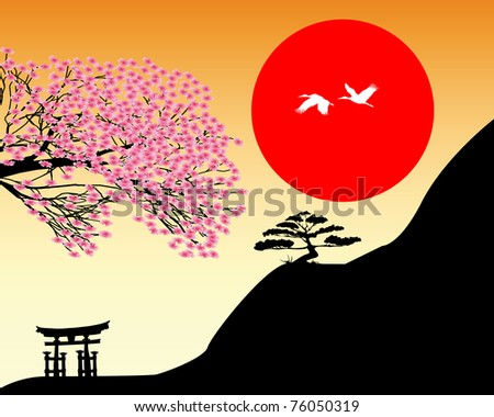 Japanese landscape against the backdrop of red and orange sky sun - stock vector